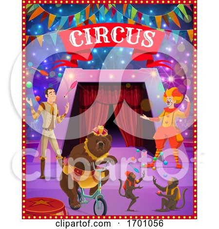 Circus Tent Arena, Clown, Juggler, Bear, Monkeys by Vector Tradition SM