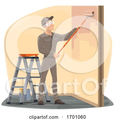 Happy Male Worker Painting a Wall Posters, Art Prints