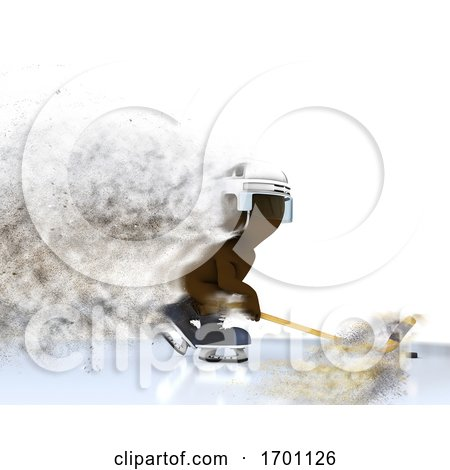 3D Figure Playing Ice Hockey with Speed Effect by KJ Pargeter