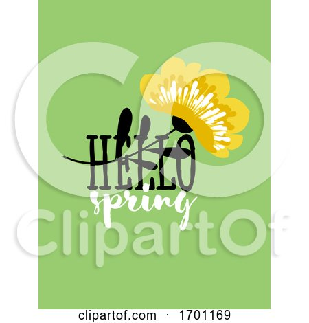 Vector Illustration of Abstract Floral Card with Elegant Flower and Spring Lettering Pastel Color Greeting Card Banner Cover Design Template or Social Media Story Wallpaper with Stylish Blossoming Plant by elena