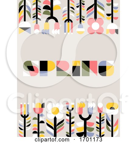 Vector Illustration in Simple Flat Geometric Style of Abstract Floral Card with Cute Flowers and Herbs and Spring Lettering Pastel Color Greeting Card Banner Cover Design Template or Social Media Story Wallpaper with Naive Blossoming Plants Posters, Art Prints