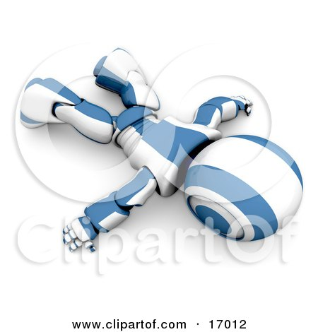 Blue And White Robot Robot Lying Face Down On The Floor, Symbolizing Giving Up, Low Batteries, Exhaustion Or Failure Clipart Illustration by Leo Blanchette