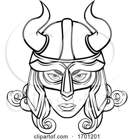 Viking Woman Warrior Mascot by AtStockIllustration