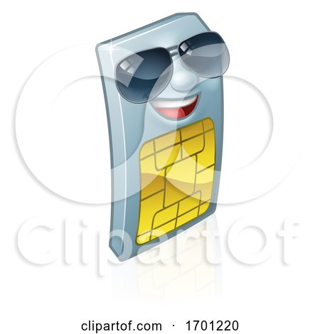 Sim Card Mobile Phone Cool Shades Cartoon Mascot by AtStockIllustration