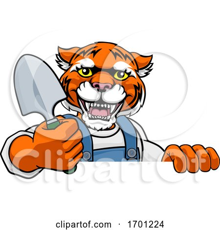 Tiger Gardener Gardening Animal Mascot by AtStockIllustration