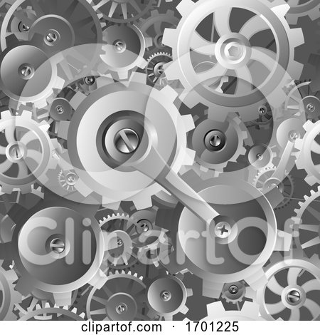Gears and Cogs Seamless Machine Pattern by AtStockIllustration