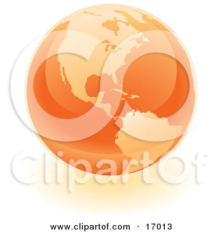 Orange Shiny Marble Of The American Continents Of The Planet Earth Clipart Illustration by Leo Blanchette