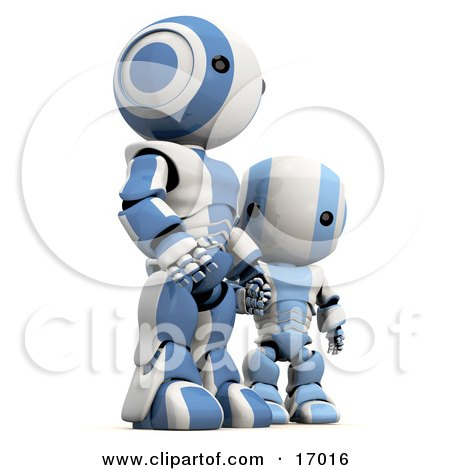 Blue And White Robot Holding Hands And Standing With His Son  Posters, Art Prints