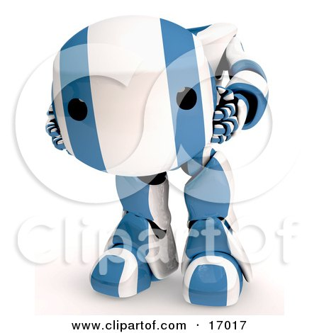Blue And White Robot Holding His Own Head In His Hands Clipart Illustration