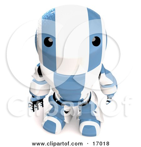 Blue And White Robot Looking Upwards in Curiousity  Posters, Art Prints