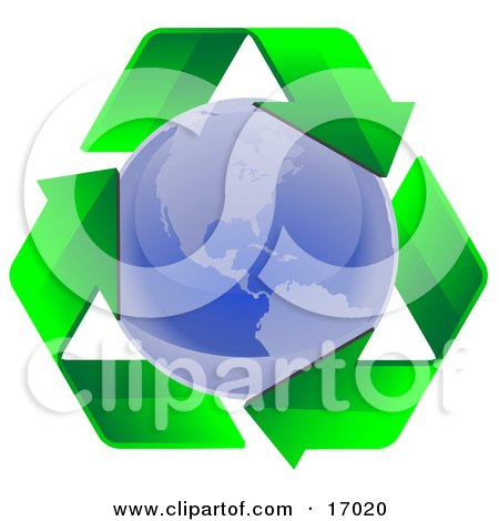 Clockwise Triangle Of Green Arrows Circling The Blue Planet Earth, Symbolizing Recycling Or Renewable Energy Clipart Illustration by Leo Blanchette
