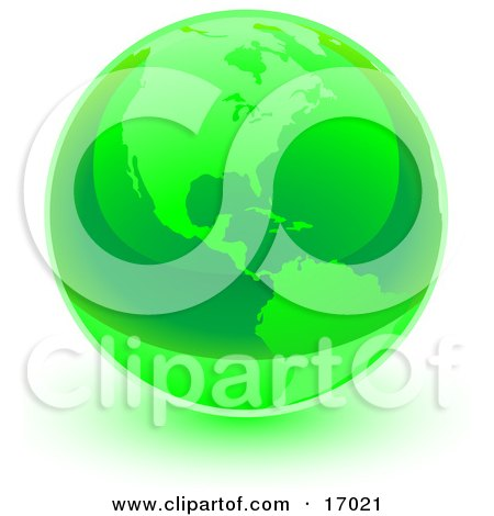 Green Shiny Marble Of The American Continents Of The Planet Earth  Posters, Art Prints
