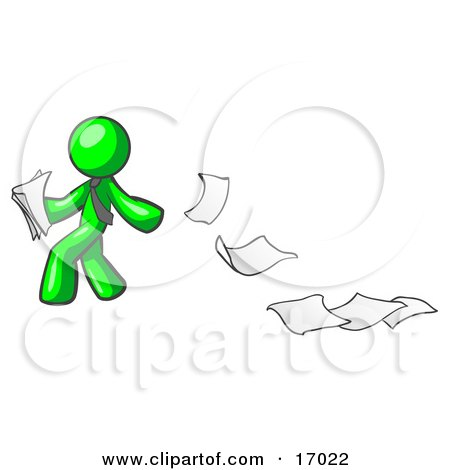 Lime Green Man Dropping White Sheets Of Paper On A Ground And Leaving A Paper Trail, Symbolizing Waste Clipart Illustration by Leo Blanchette