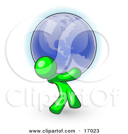 Lime Green Man Carrying The Blue Planet Earth On His Shoulders, Symbolizing Ecology And Going Green Clipart Illustration by Leo Blanchette