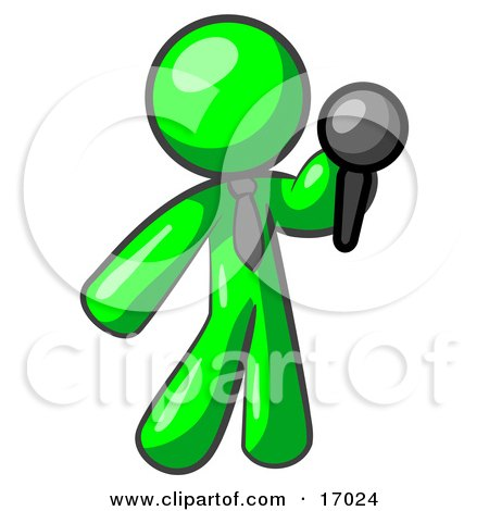 Lime Green Man, A Comedian Or Vocalist, Wearing A Tie, Standing On Stage And Holding A Microphone While Singing Karaoke Or Telling Jokes Clipart Illustration by Leo Blanchette