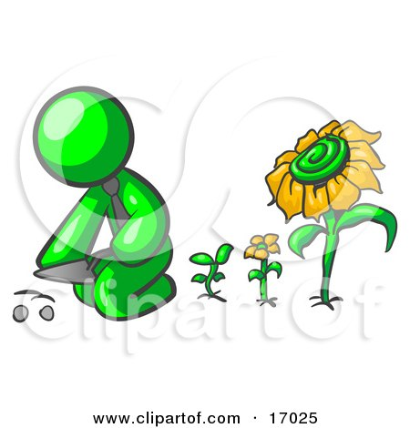 Lime Green Man Kneeling By Growing Sunflowers To Plant Seeds In A Dirt Hole In A Garden Clipart Illustration by Leo Blanchette