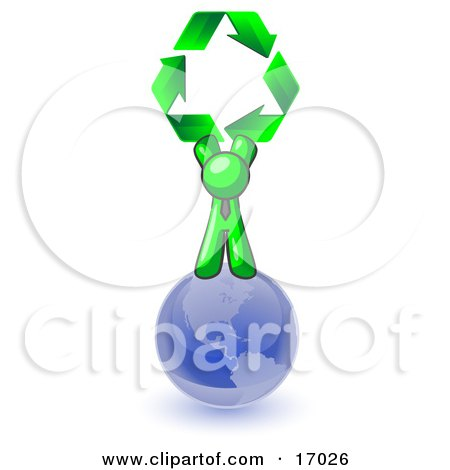 Lime Green Man Standing On Top Of The Blue Planet Earth And Holding Up Three Green Arrows Forming A Triangle And Moving In A Clockwise Motion, Symbolizing Renewable Energy And Recycling  Posters, Art Prints