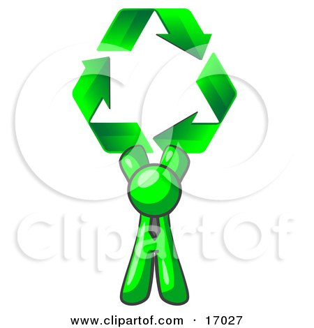 Lime Green Man Holding Up Three Green Arrows Forming A Triangle And Moving In A Clockwise Motion, Symbolizing Renewable Energy And Recycling  Posters, Art Prints
