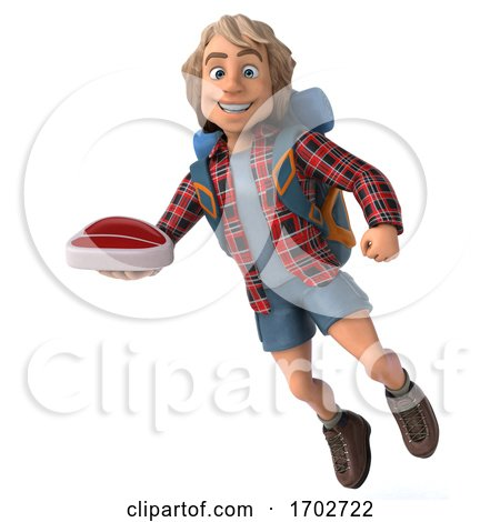 3d Hiker, on a White Background Posters, Art Prints