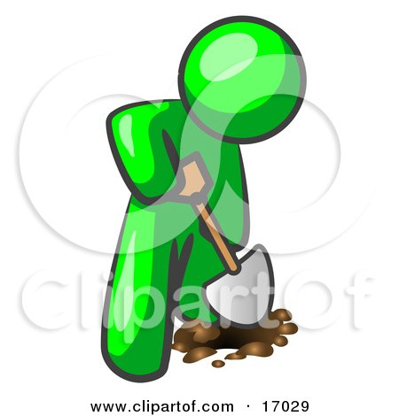 Lime Green Man Using A Shovel To Dig A Hole For A Plant In A Garden Clipart Illustration by Leo Blanchette