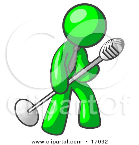 Lime Green Man In A Tie, Singing Songs On Stage During A Concert Or At A Karaoke Bar While Tipping The Microphone Clipart Illustration by Leo Blanchette
