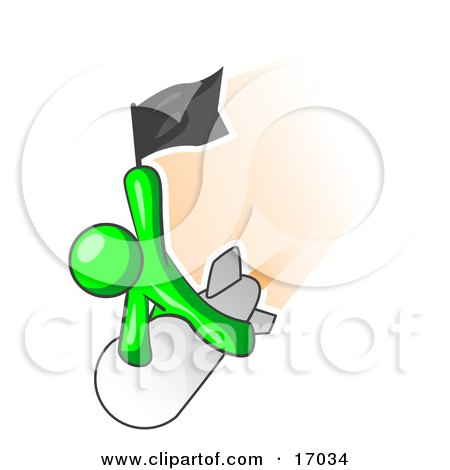 Lime Green Man Waving A Flag While Riding On Top Of A Fast Missile Or Rocket, Symbolizing Success Clipart Illustration by Leo Blanchette