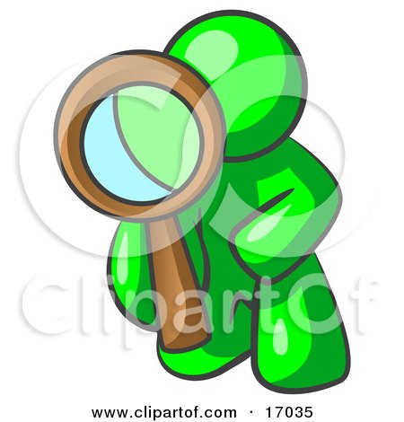 Lime Green Man Kneeling On One Knee To Look Closer At Something While Inspecting Or Investigating Clipart Illustration by Leo Blanchette