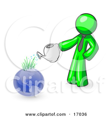 Lime Green Man Using A Watering Can To Water New Grass Growing On Planet Earth, Symbolizing Someone Caring For The Environment Clipart Illustration by Leo Blanchette