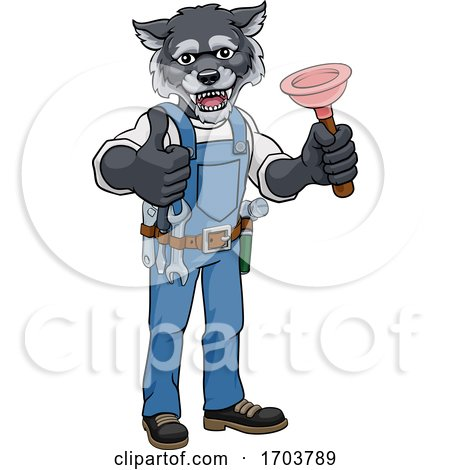 Wolf Plumber Cartoon Mascot Holding Plunger Posters, Art Prints