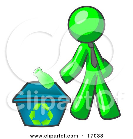 Lime Green Man Tossing A Plastic Container Into A Recycle Bin, Symbolizing Someone Doing Their Part To Help The Environment And To Be Earth Friendly Clipart Illustration by Leo Blanchette