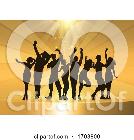 Party People Dancing on a Golden Podium Background by KJ Pargeter