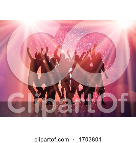 Party Crowd with Spotlights and Confetti by KJ Pargeter