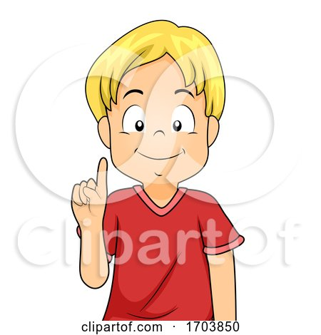 Kid Boy Hand Sign Language Number One Illustration by BNP Design Studio