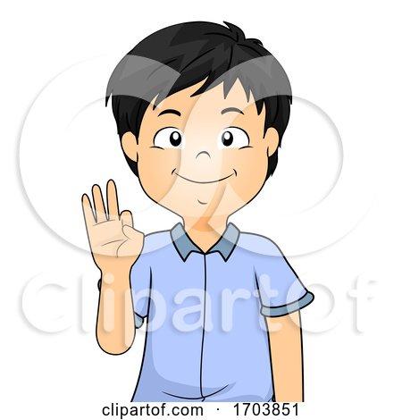 Kid Boy Sign Language Number Nine Illustration by BNP Design Studio