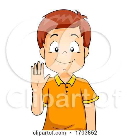 Kid Boy Sign Language Number Five Illustration by BNP Design Studio