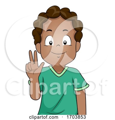 Kid Boy Black Sign Language Three Illustration by BNP Design Studio