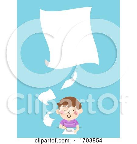Kid Boy Write Papers Illustration by BNP Design Studio
