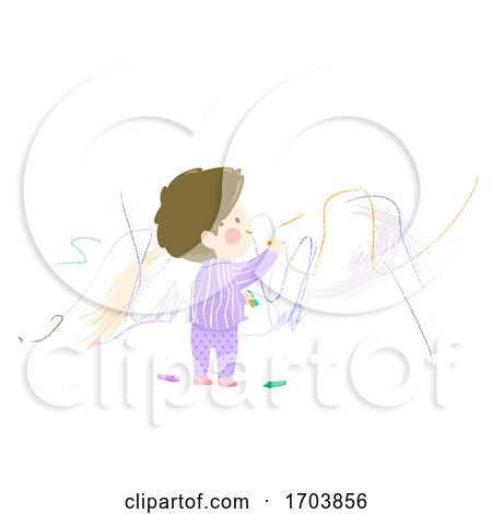 Kid Boy Toddler Scribble Wall Illustration by BNP Design Studio