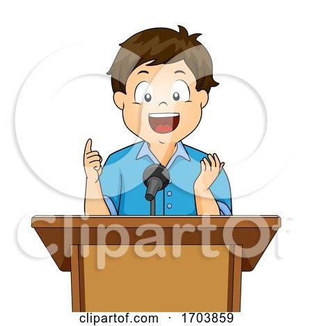 Kid Boy Speech Podium Illustration by BNP Design Studio