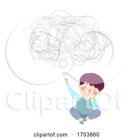Kid Boy Scribble Thoughts Illustration by BNP Design Studio