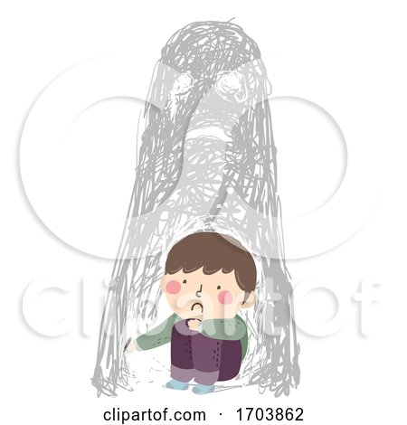 Kid Boy Sad Scribble Disturbing Image Illustration by BNP Design Studio