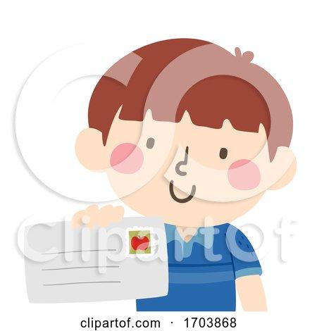 Kid Boy Give Letter Illustration by BNP Design Studio