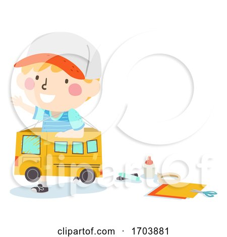 Kid Boy Play Box Bus Craft Illustration by BNP Design Studio
