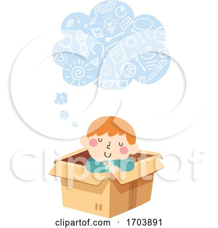 Kid Boy Thinking Cloud Imagination Illustration by BNP Design Studio
