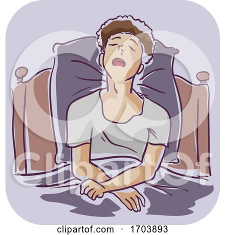 Guy Man Sleeping in Bed Sit Cold Illustration by BNP Design Studio