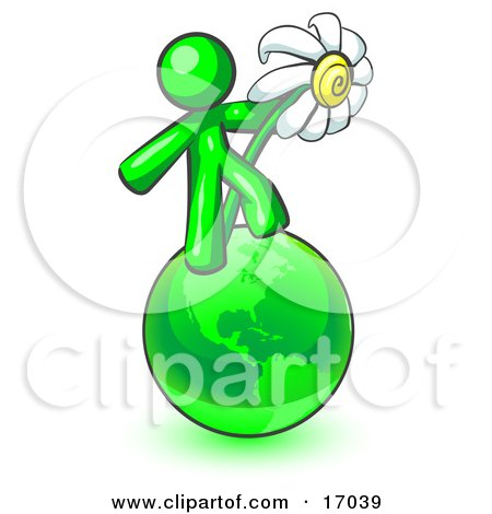 Lime Green Man Standing On The Green Planet Earth And Holding A White Daisy, Symbolizing Organics And Going Green For A Healthy Environment Clipart Illustration by Leo Blanchette