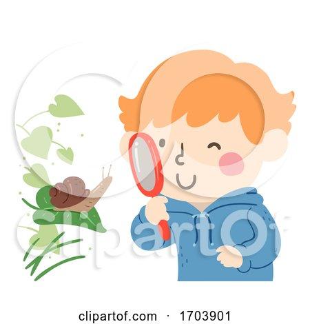 Kid Boy Spring Observe Garden Snail Illustration by BNP Design Studio
