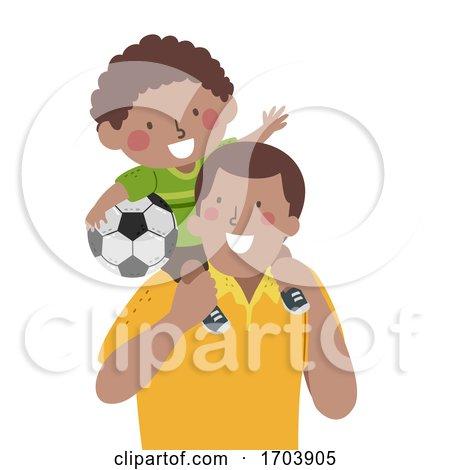 Kid Boy Dad Back Ride Soccer Illustration by BNP Design Studio