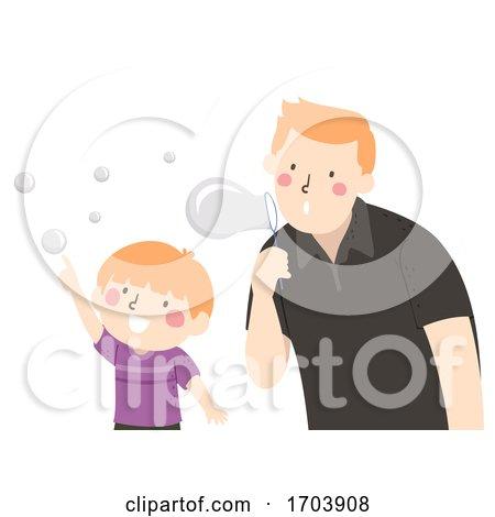 Kid Boy Dad Play Bubbles Illustration by BNP Design Studio