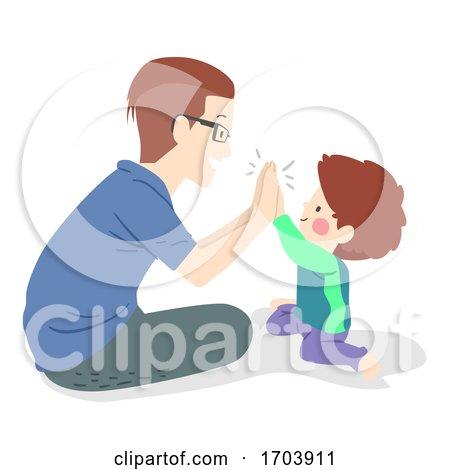 Kid Boy Man Father Son High Five Illustration by BNP Design Studio
